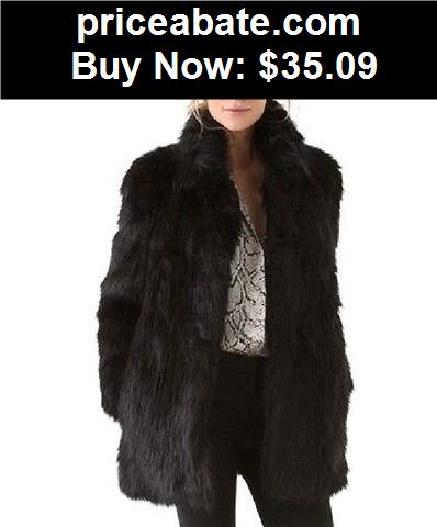 Women-Coats-And-Jackets: New Women Winter black Collar Warm Faux Fur Long Sleeve Jacket Coat Outwear - BUY IT NOW ONLY $35.09