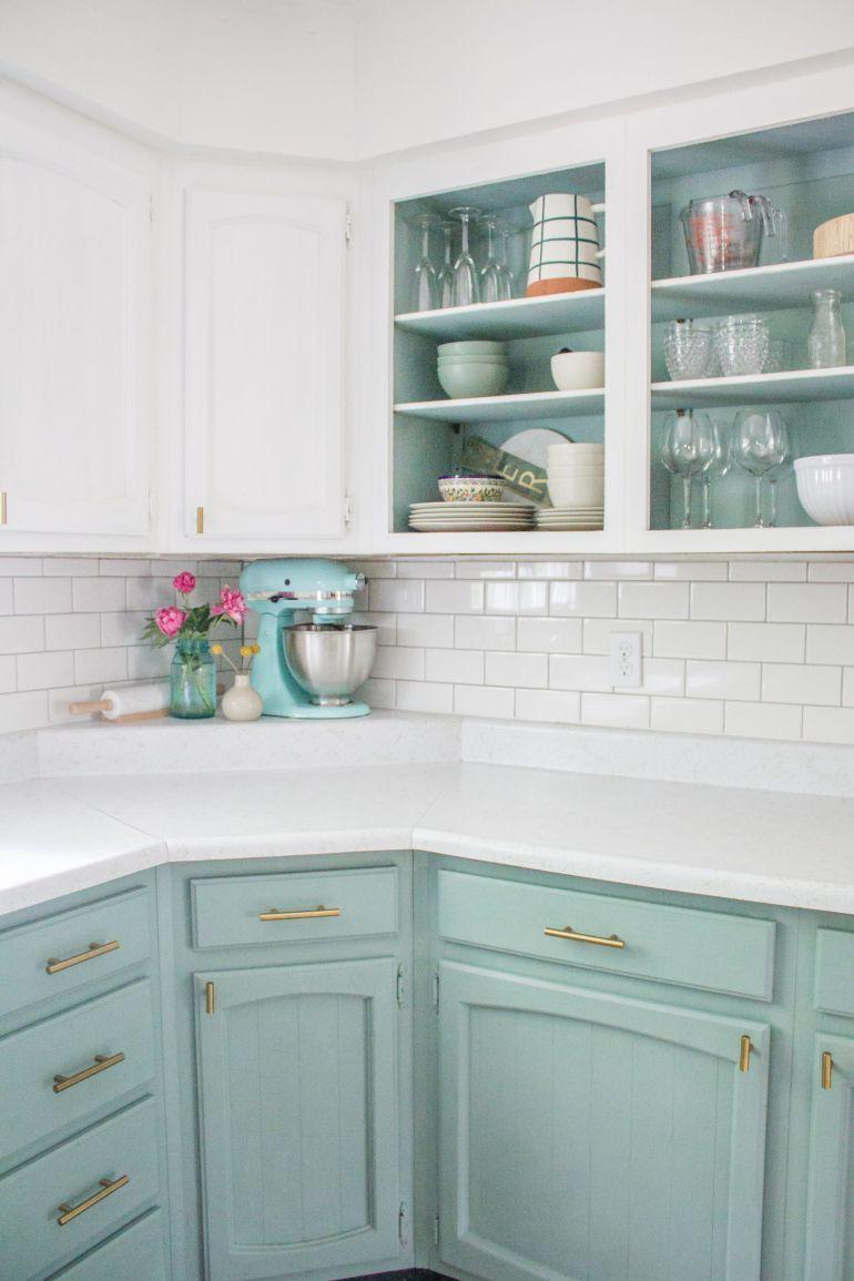 Chalk Paint Blue Kitchen- Annie Sloan- $200 Budget kitchen update before & after