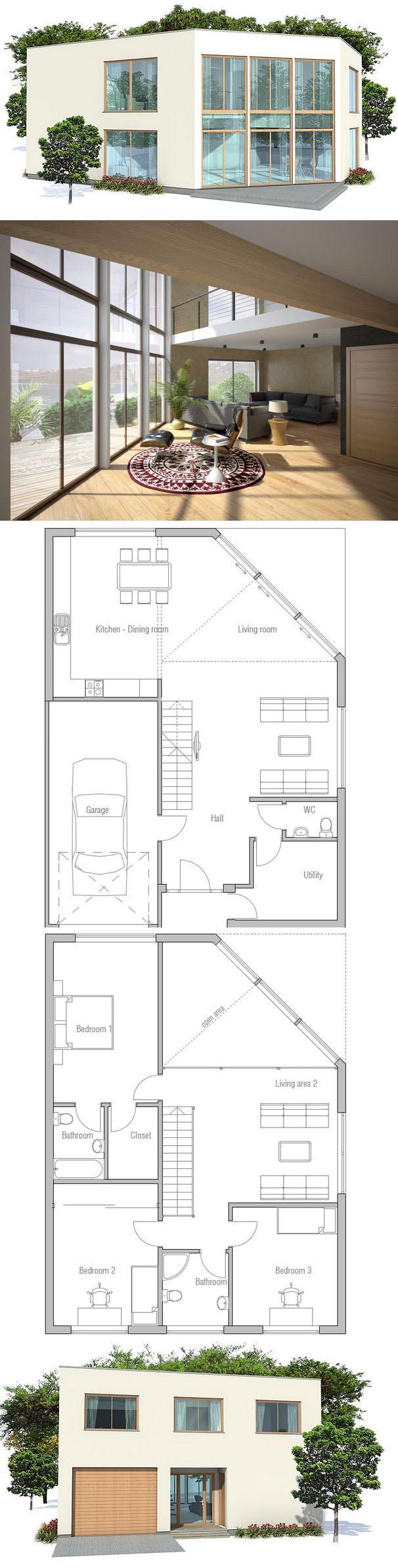 Plan De Maison Ch160 New House Plans Contemporary House Plans Architecture House