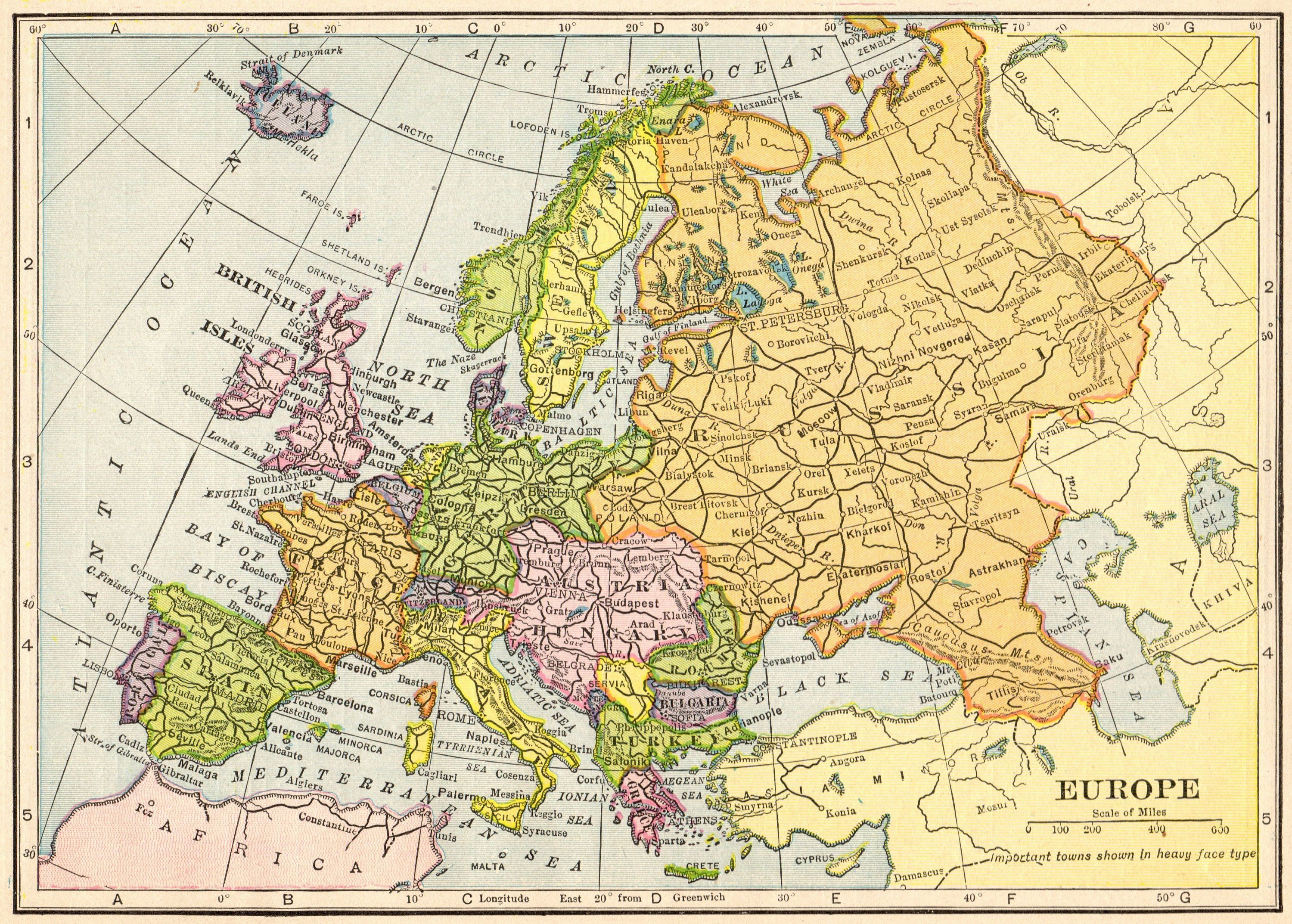 1910 Antique Europe Map Vintage Map Of Europe Gallery Wall Art