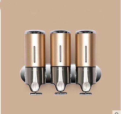 luxury shower golden bathroom soap dispenser liquid soap box 3 shampoo bottles