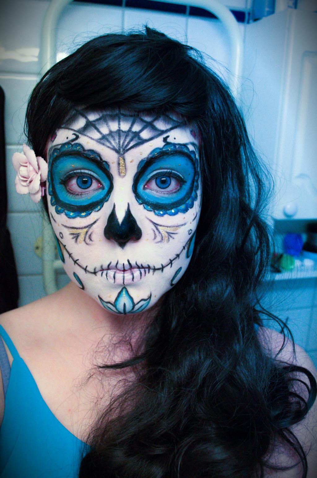 Blue Sugar Makeup Sugar Skull By Mitternachto On Deviantart Halloween Makeup Sugar Skull Skull Makeup Sugar Skull Makeup