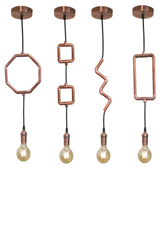 Industrial Copper Pipe Pendant Light Unique Modern Geometric Pendant Light Fixture by HangoutLighting on Etsy https://www.etsy.com/listing/465455891/industrial-copper-pipe-pendant-light