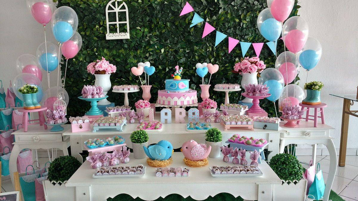 Aluguel de decoração chá de bebê ou festa infantil Tema Jardim dos  pássaros  - Mesa e808bb8c247