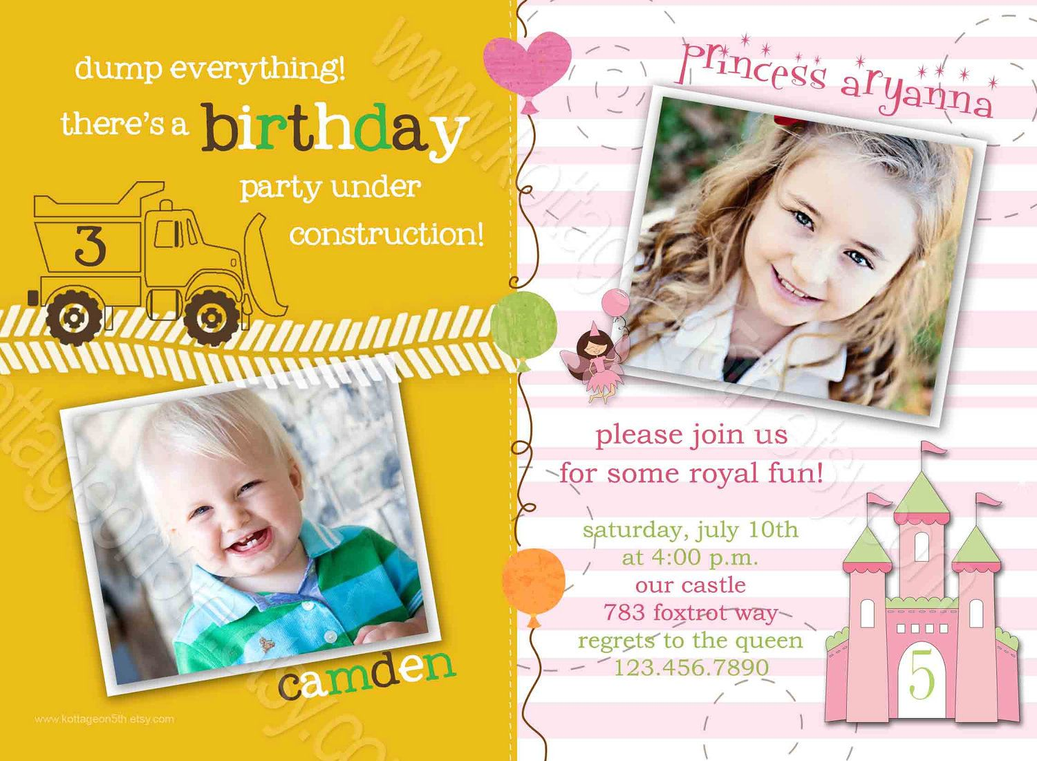 trucks n tierras printable joint birthday party invitation