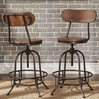 Berwick Iron Industrial Adjustable Counter Height High Back Stools