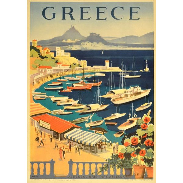 GREECE TOURISM POSTER Vintage Greek Athens Bay Travel Advert, Art ...