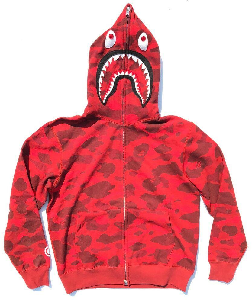 2019 Bape A Bathing Ape Shark Jaw Hoodie Sweatshirt Sweater Hooded Pullover