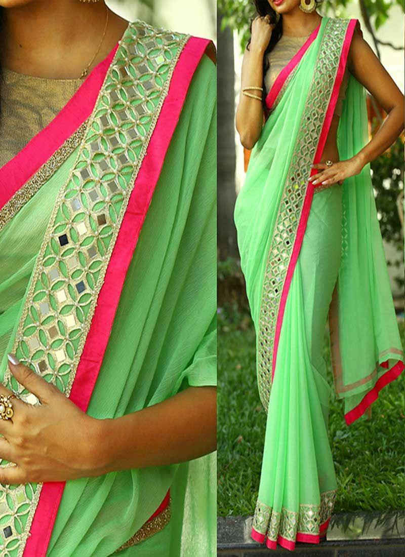 Pista green mirror work border lace georgette banarasi for Mirror work saree