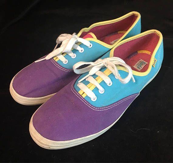 8c425dfca70d9 Vintage Keds Canvas Shoes - womens size 8 - bright color block ...