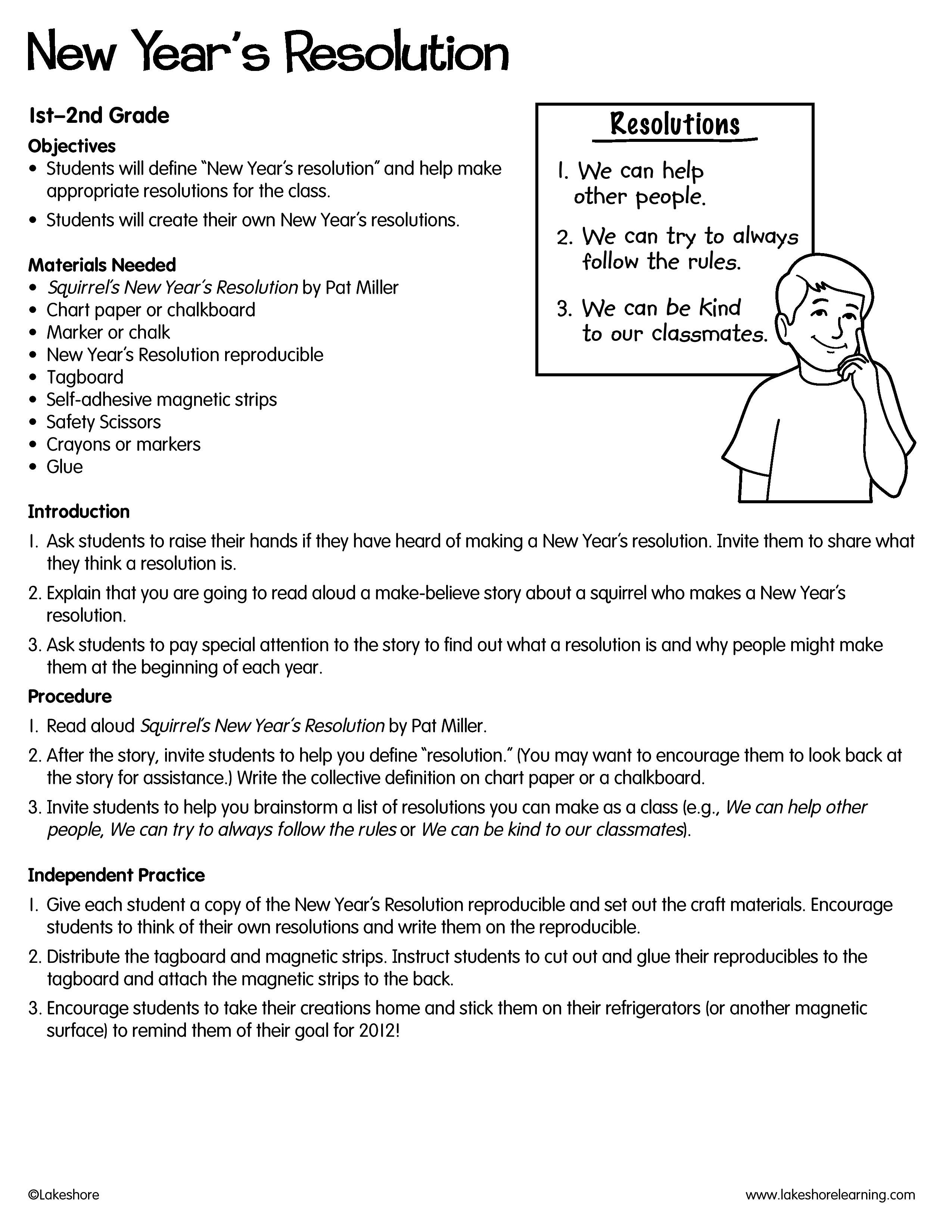 New Year S Resolution Lesson Plan From Lakeshore Learning Students Learn The Importance Of Making Elementary Counseling After School Program Classroom Lessons