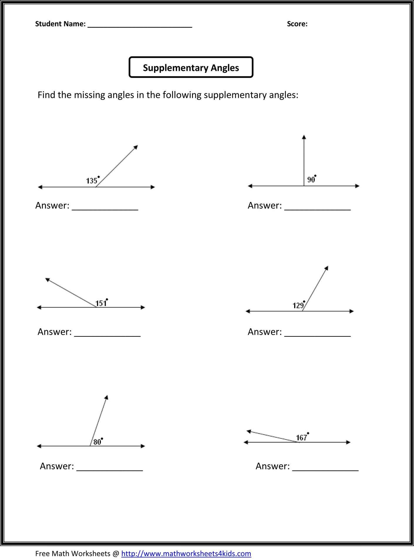12 6th Grade Angle Sums Worksheet