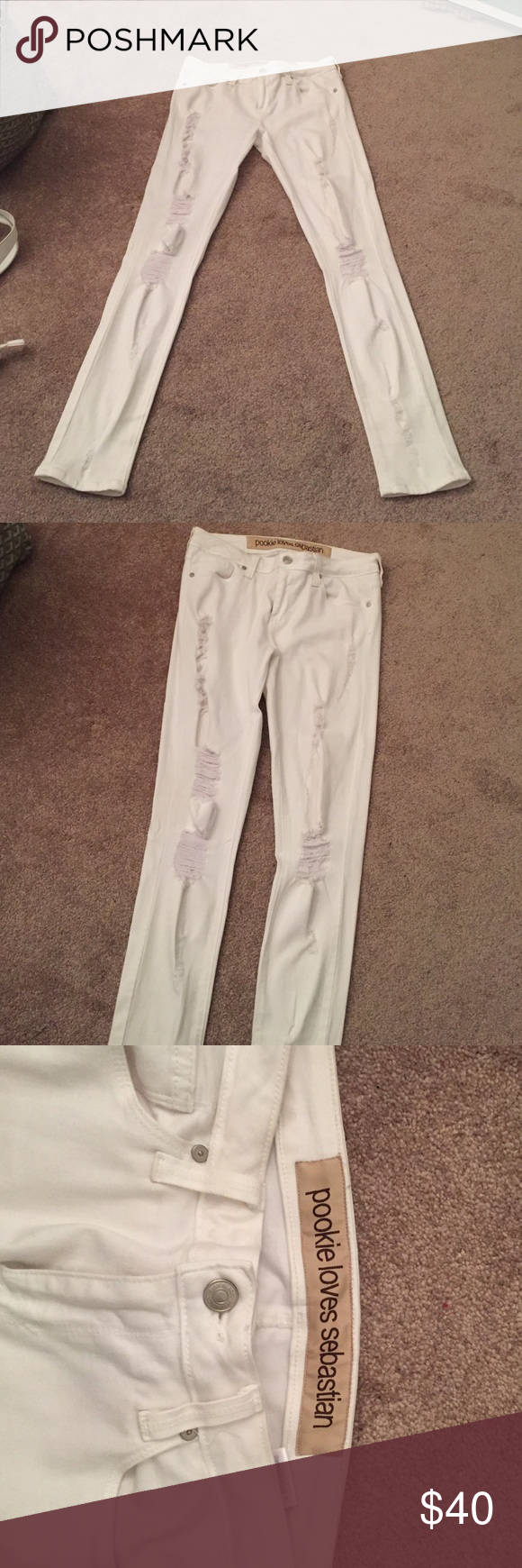 Pookie and Sebastian super skinny destroyed jeans A must have for that Gigi Hadid model off duty look! Very distressed. I tried them on once and they didn't fit so I'm selling. NWOT. Purchased at Pookie and Sebastian in NYC. Pookie and Sebastian Jeans Skinny