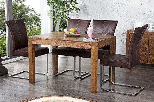 DuNord Design Esstisch MUMBAI Palisander Massivholz Sheesham (120 cm