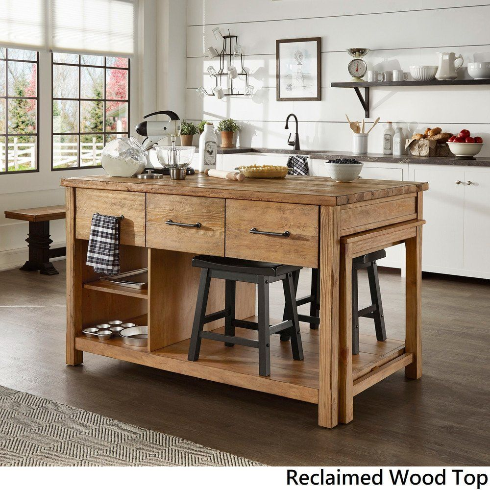 Tali Reclaimed Wood Extendable Kitchen Island by iNSPIRE Q ...