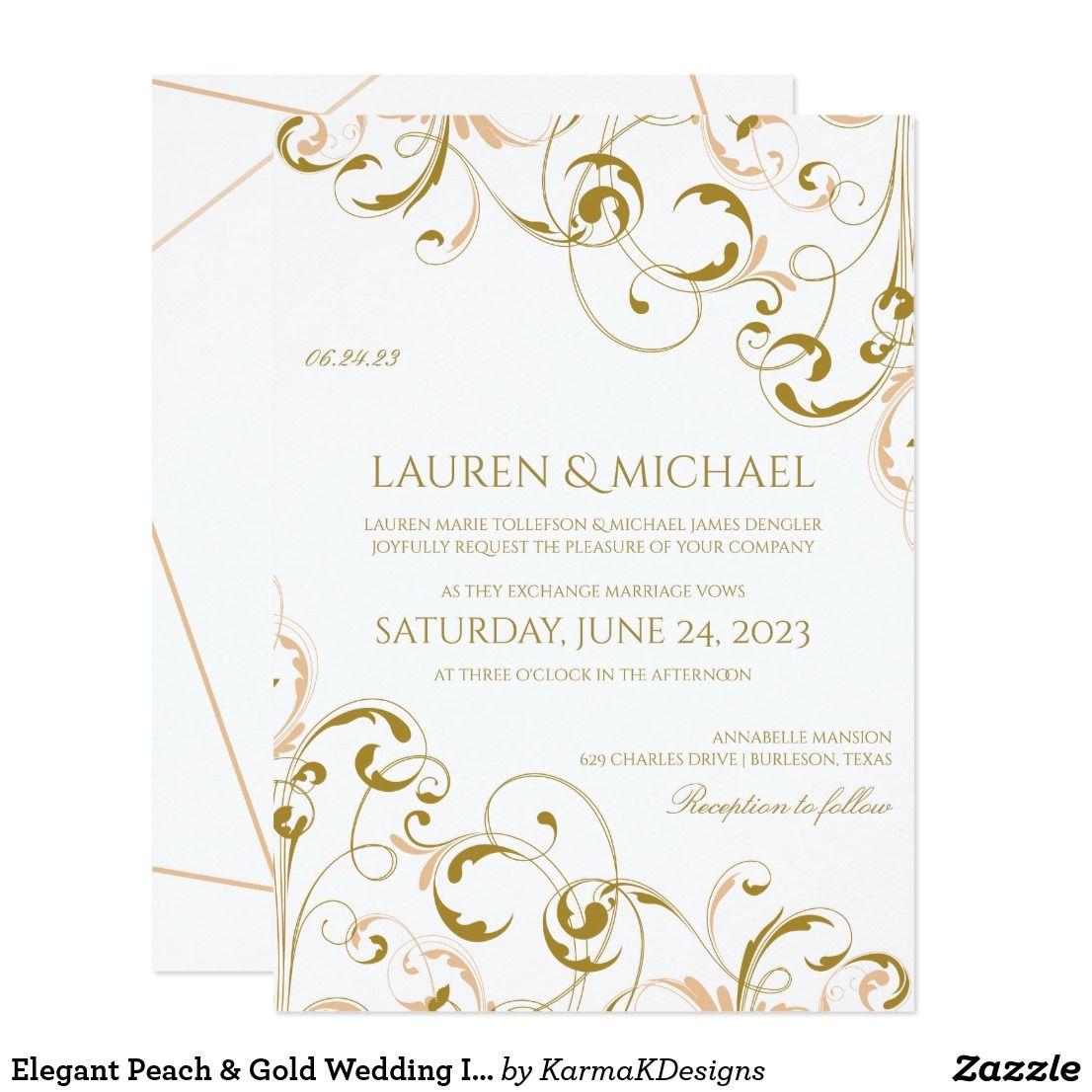 Elegant Peach Gold Wedding Invitations Swirls