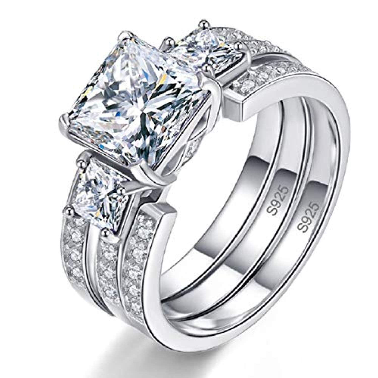 Wedding Engagement Rings Bridal Set For Women 925 Sterling Silver Cz Past Present F Silver Wedding Rings Sets Silver Wedding Rings Engagement Rings Bridal Sets