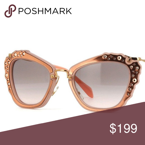 3e8992c4f9c1 Miu Miu Cat eye Rose Gold Rhinestone Sunglasses Rose up your summer with  this Cat Eye Rose Gold sunglasses which is Embellished with  Crystals Rhinestones ...
