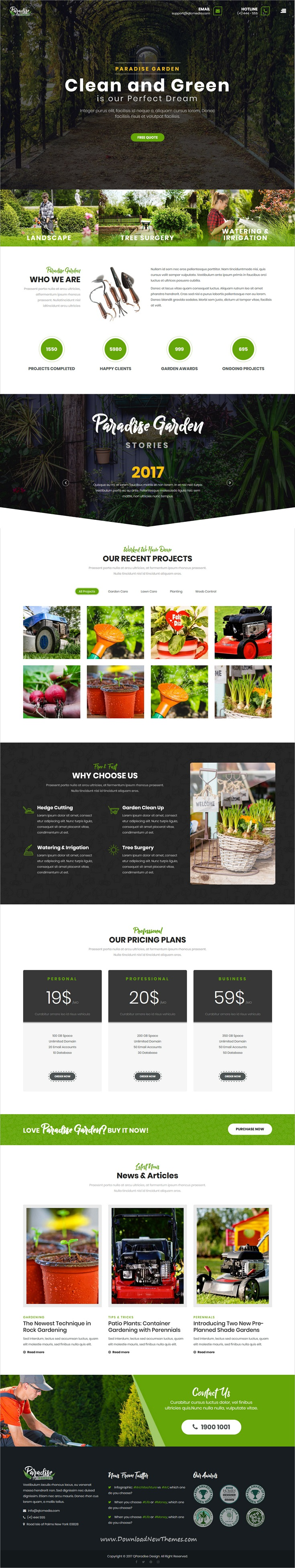 Qparadise Gardening And Landscaping Wordpress Theme Lawn Service Landscaping Company Landscape