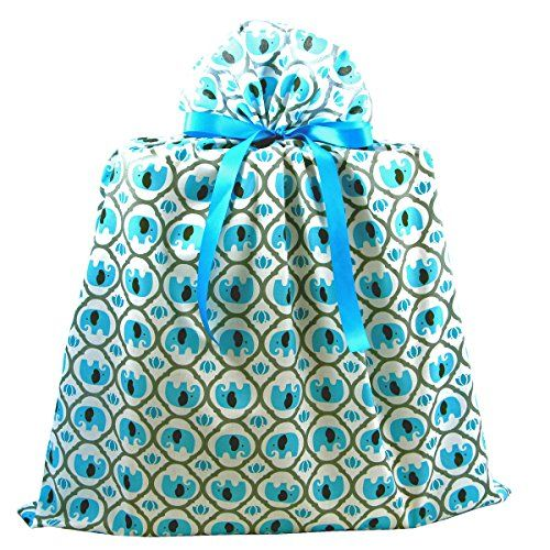 Elephants Reusable Fabric Gift Bag For Baby Shower Childs Birthday Or Any Occasion Jumbo 27 Inches Wide By 33 High Turquoise Blue Read More