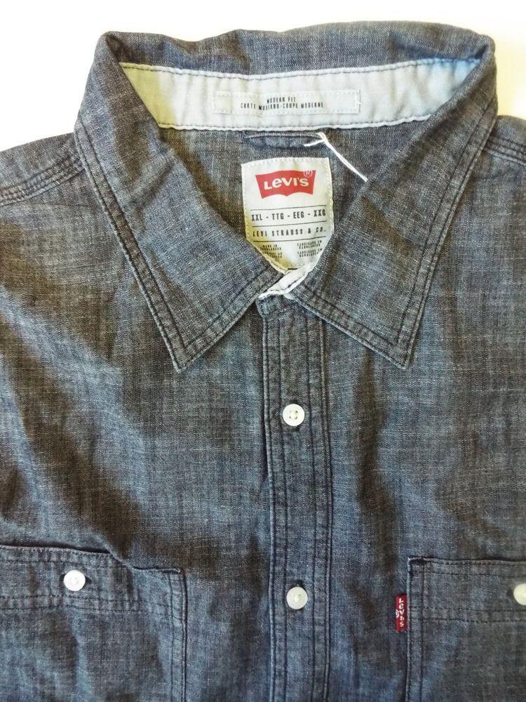 100a23e52a LEVI S DENIM SHIRT MEN S MODERN FIT BUTTONS XXL DARK BLUE LSHT524  fashion   clothing  shoes  accessories  mensclothing  shirts (ebay link)
