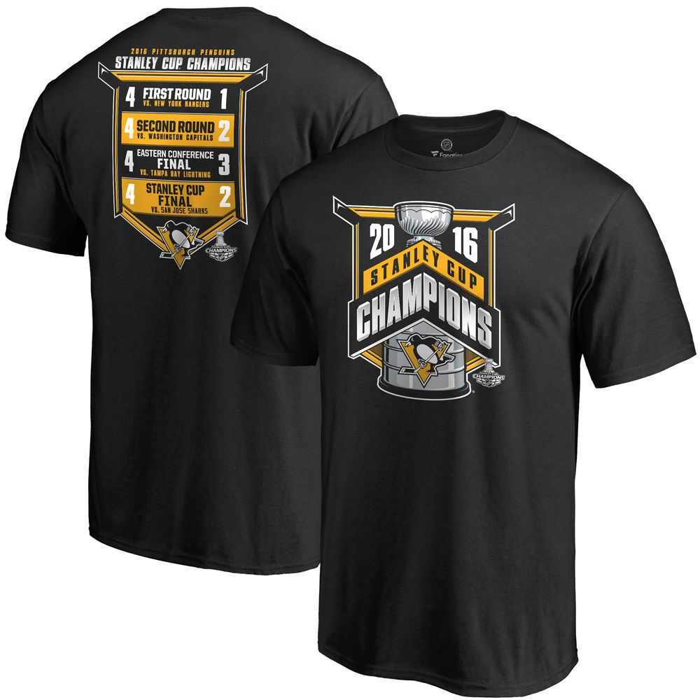 Men's Pittsburgh Penguins Black 2016 Stanley Cup Champions All Score T-Shirt