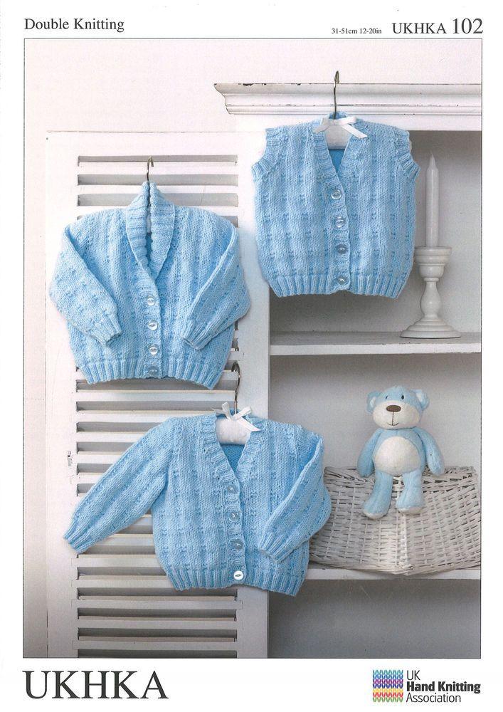 Baby Waistcoat & Cardigans Double knitting pattern. (Prem - 12mths ...