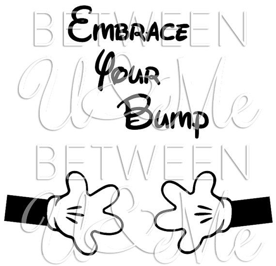 Embrace your bump maternity baby minnie mickey mouse hands disney iron on decal vinyl for shirt