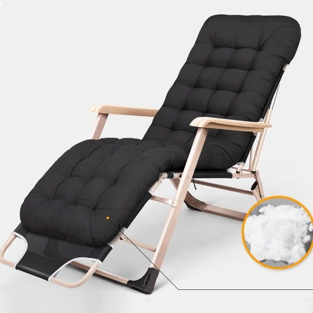 Breathable Reclining Chair Folding Bed Cot Relax Lazy Chair With Removable Cotton Pad For Office Nap Camping Fishing Deck Chairs Beach Chairs Outdoor Chairs
