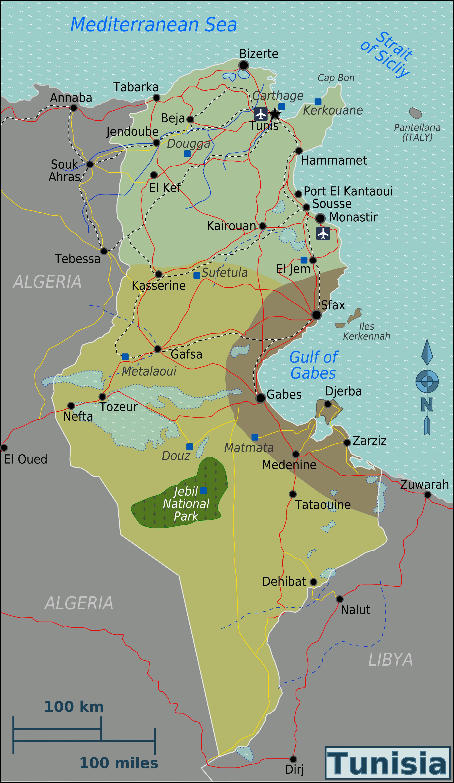 Tunisia Map Between Algeria And Libya