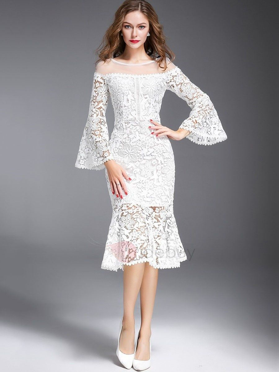 e80387c2ca Nine Points Sleeve Mermaid Off White Women s Lace Dress