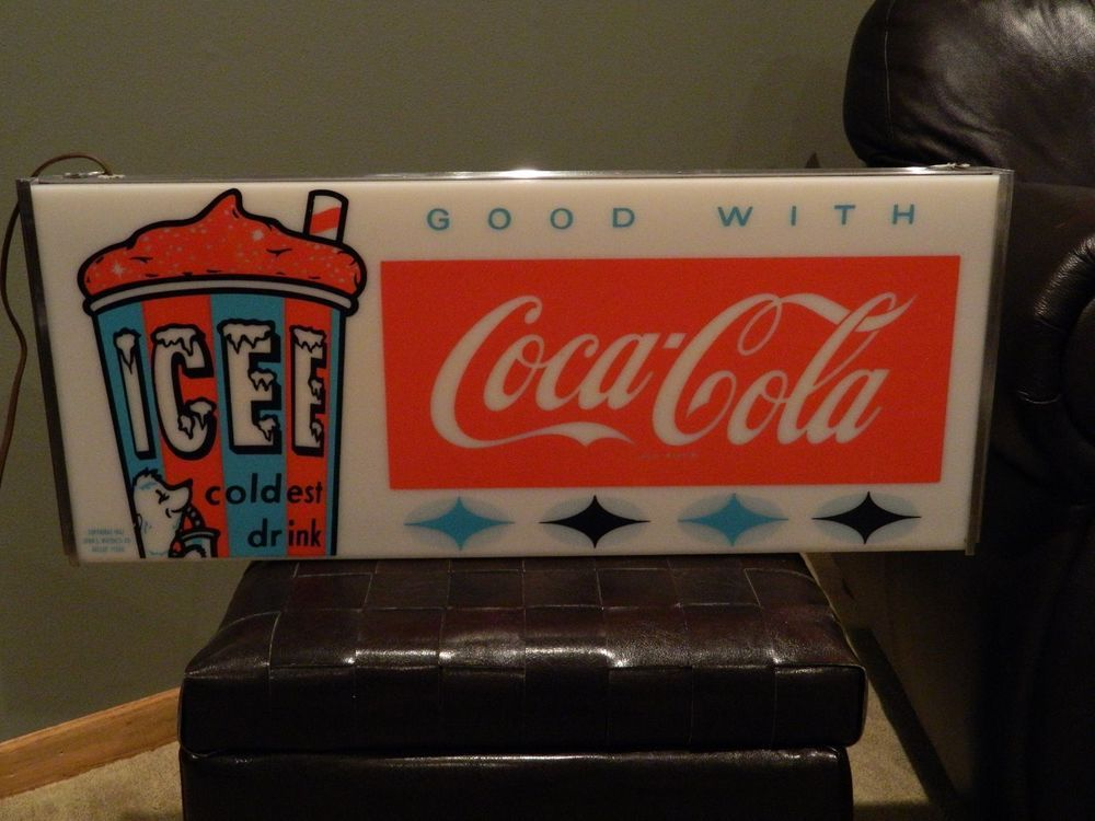 Vintage Advertising 1960's Icee Coca Cola Lighted Sign Soda Ice Cream Parlor