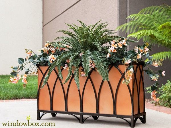 Arch Black Rectangular Planters W Feet And Metal Liners Iron Planters Rectangular Planters Planters