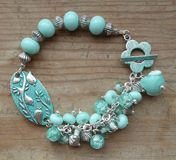 20X37mm tourquoise/silver Three Birds bracelet by Earthshinebeads