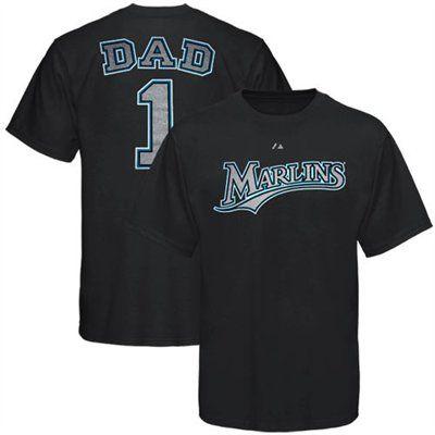 Majestic Florida Marlins Black #1 Dad T-shirt