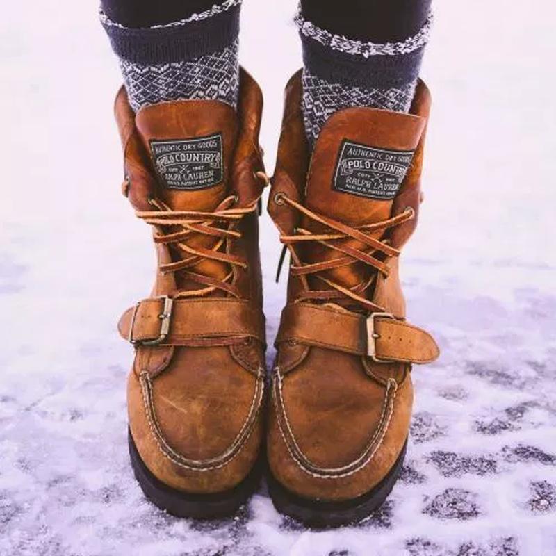 Winter Flat Heel Lace-Up Women's Shoes 3
