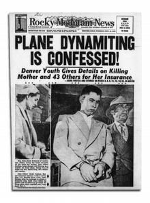 Image result for 1955 – The bombing of United Airlines Flight 629