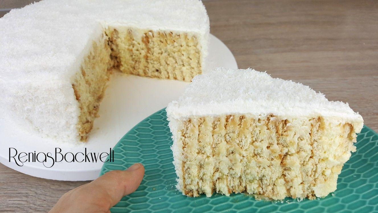 Dieser Butterkeks Raffaellokuchen Ist Super Einfach Gezaubert Und Unwiderstehlich Lecker Es We Butterkeks Kuchen Ohne Backen Butterkekse Kuchen Mit Butterkeks