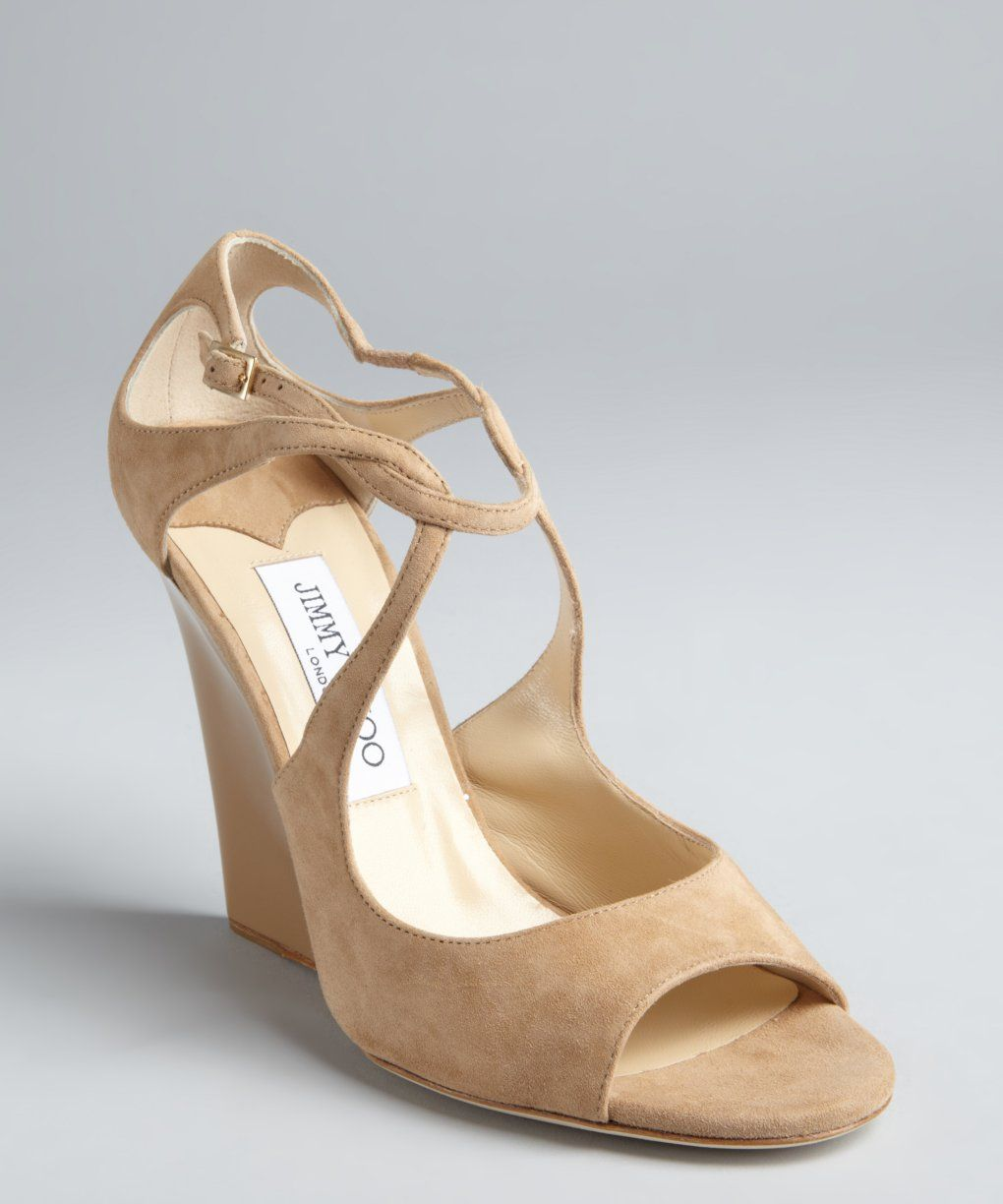 5b451bc1a81e86 Jimmy Choo nude suede Verena strappy wedge sandals