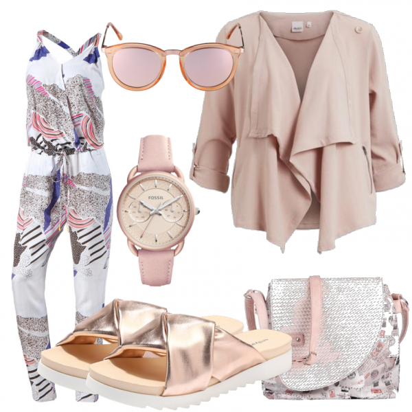 Sommer Outfits Liberta Bei Frauenoutfits De Mode Sommertrend Jumpsuit Fashion Fossil Rosa Jacke Outfit Sommeroutfits Overall Mode Modestil