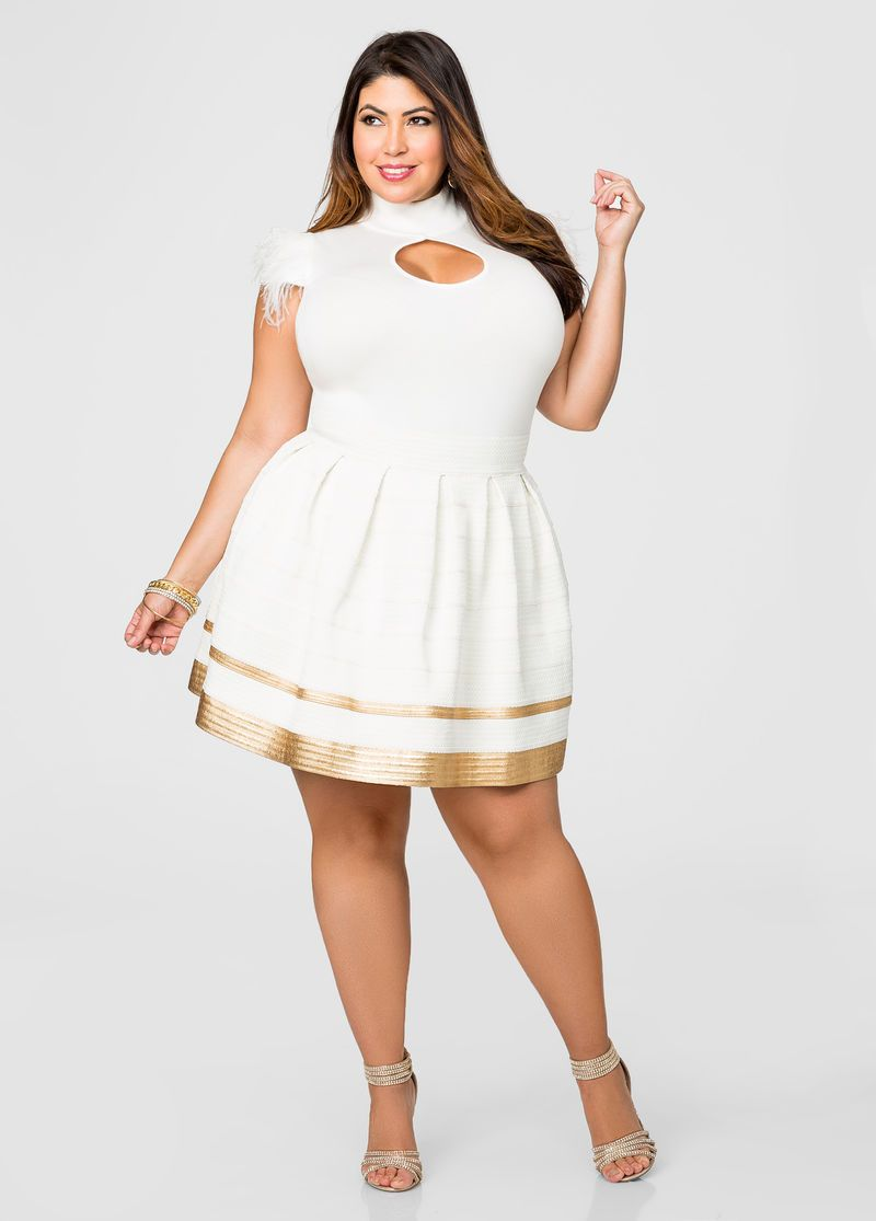 Cream And Gold Bandage Flare Skirt in 2019 | Plus size ...