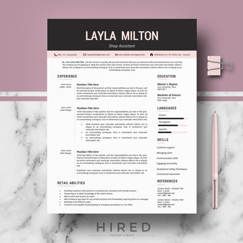 Modern Resume Template For Word Layla   Editable  Instant