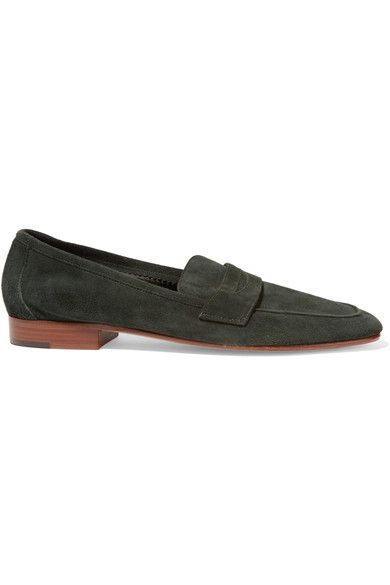 Mansur Gavriel Classic suede loafers $425 Heel measures approximately 20mm/ 1 inch Emerald suede Slip on Designer color: Moss Come with dust bag Made in Italy