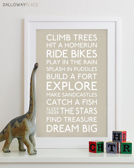 Baby Boy Nursery Art Print Typography Poster Prints Kids Room Decor Wall Gift Subway Playroom Rules Sign 12x18
