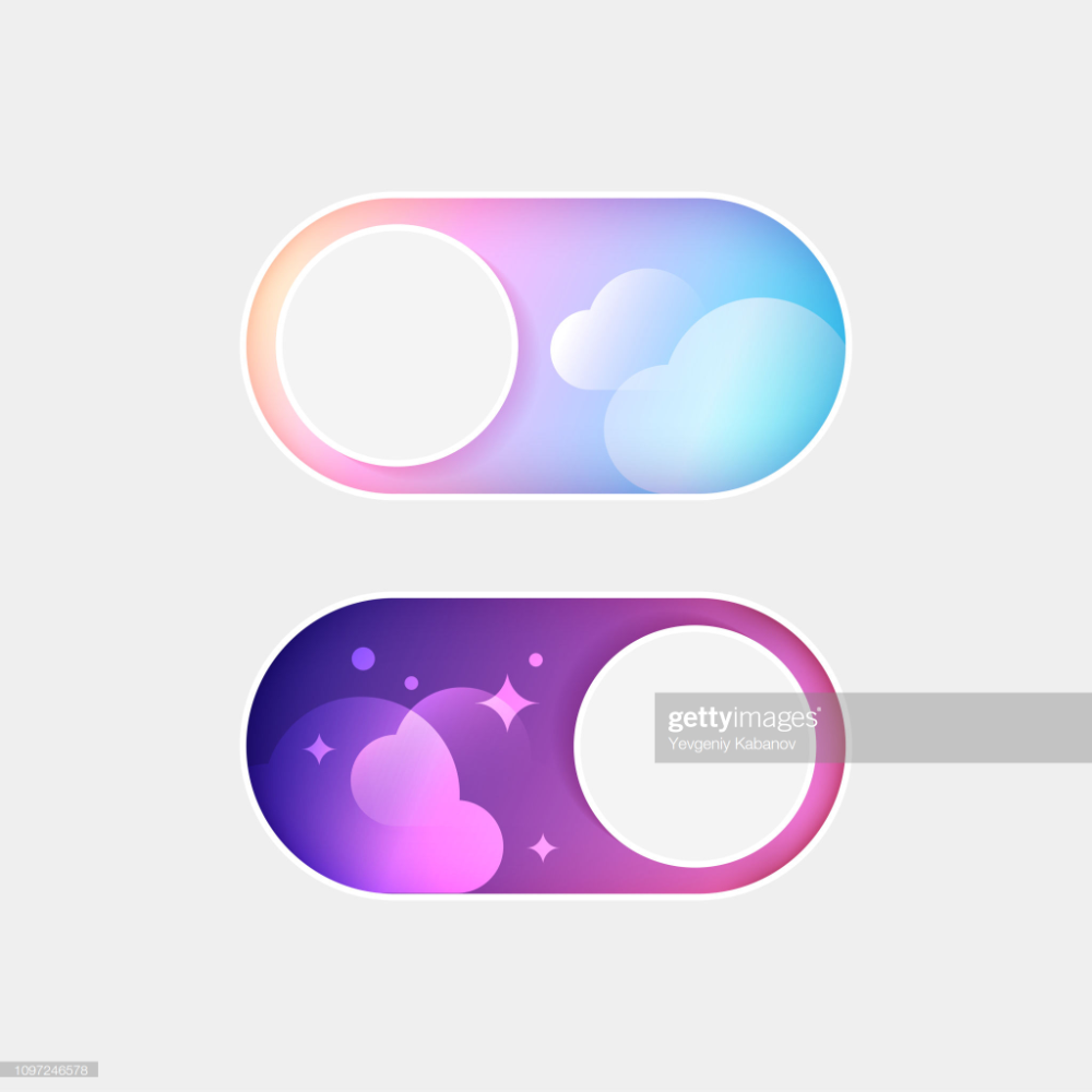 Stock Illustration Vector On Off Switch Day And Night Mode Switcher For Phone Screens Toggle Element Fo Teaching Graphic Design Instagram Design Themes App