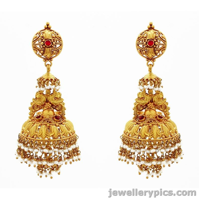 Grt Gold Antique Buttalu Jhumkas Latest Jewellery Designs Gold Earrings Designs Indian Jewelry Gold Jhumka Earrings
