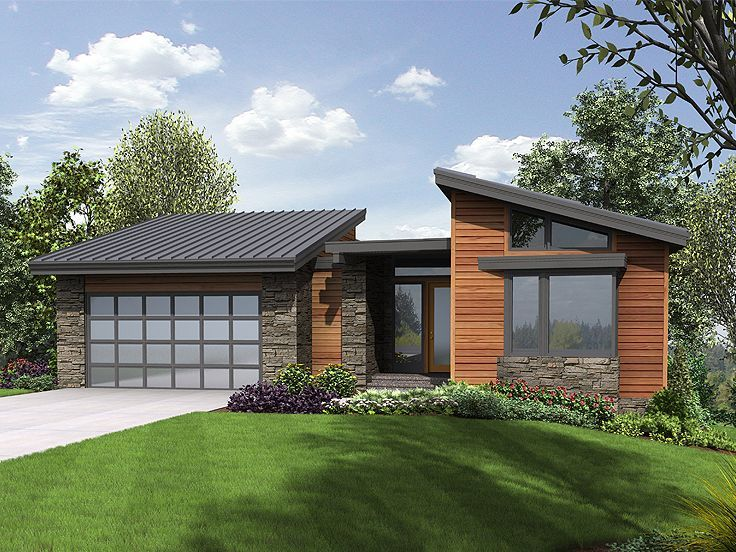 034h 0223 modern mountain house plan offers walkout for Modern home plans with basement