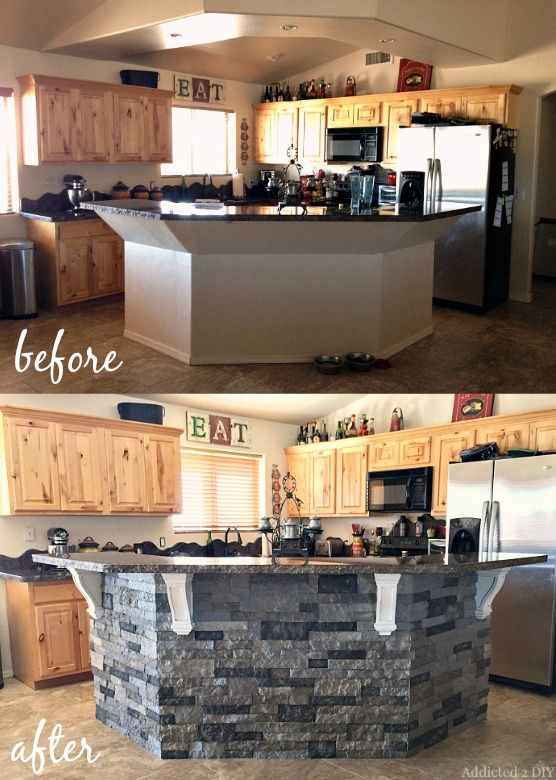 Before And After Diy Kitchen Island Makeover Kitchen Island Makeover Kitchen Design Diy Stone Kitchen Island