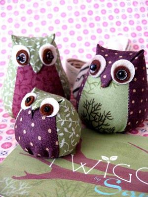 Little owls, hand sewn out of fabric scraps.