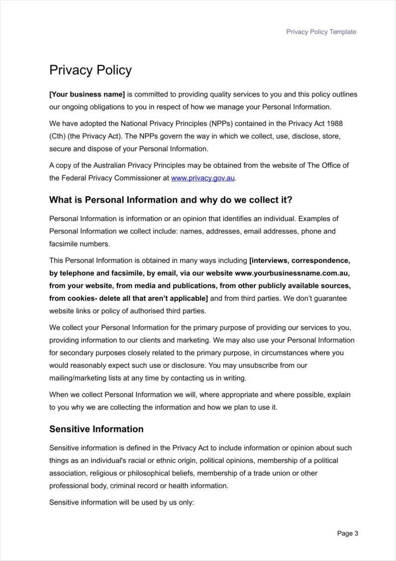 The Captivating 011 Privacy Policy Template 788x1115 Ideas Company With Credit Card Privacy Polic In 2020 Policy Template Business Card Template Word Business Template